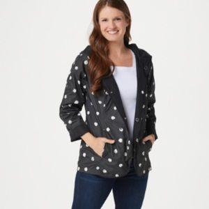 Ladies Reversible Black Polkadots Raincoat Small